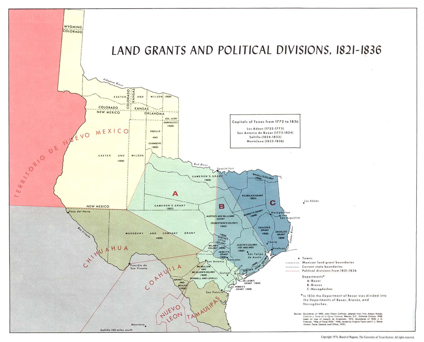 Texas Land Grants Map Texas Land Grants And Political Divisions