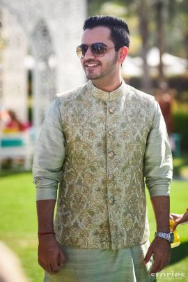 4eec5ed41e Groom Wear- Dhrumil & Anusha wedding story | WedMeGood | Groom in a Silk  Kurta with a Gold Brocade Nehru Jacket #wedmegood #Indiangroom #groomwear  ...