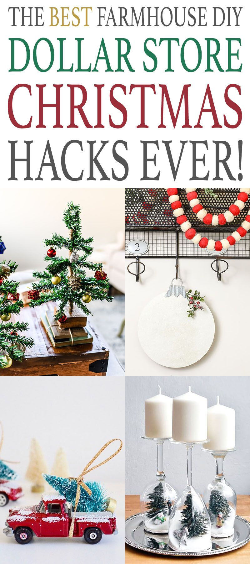 The Best Diy Farmhouse Dollar Store Christmas Hacks Ever Dollar Store Christmas Christmas Hacks Christmas Decorations