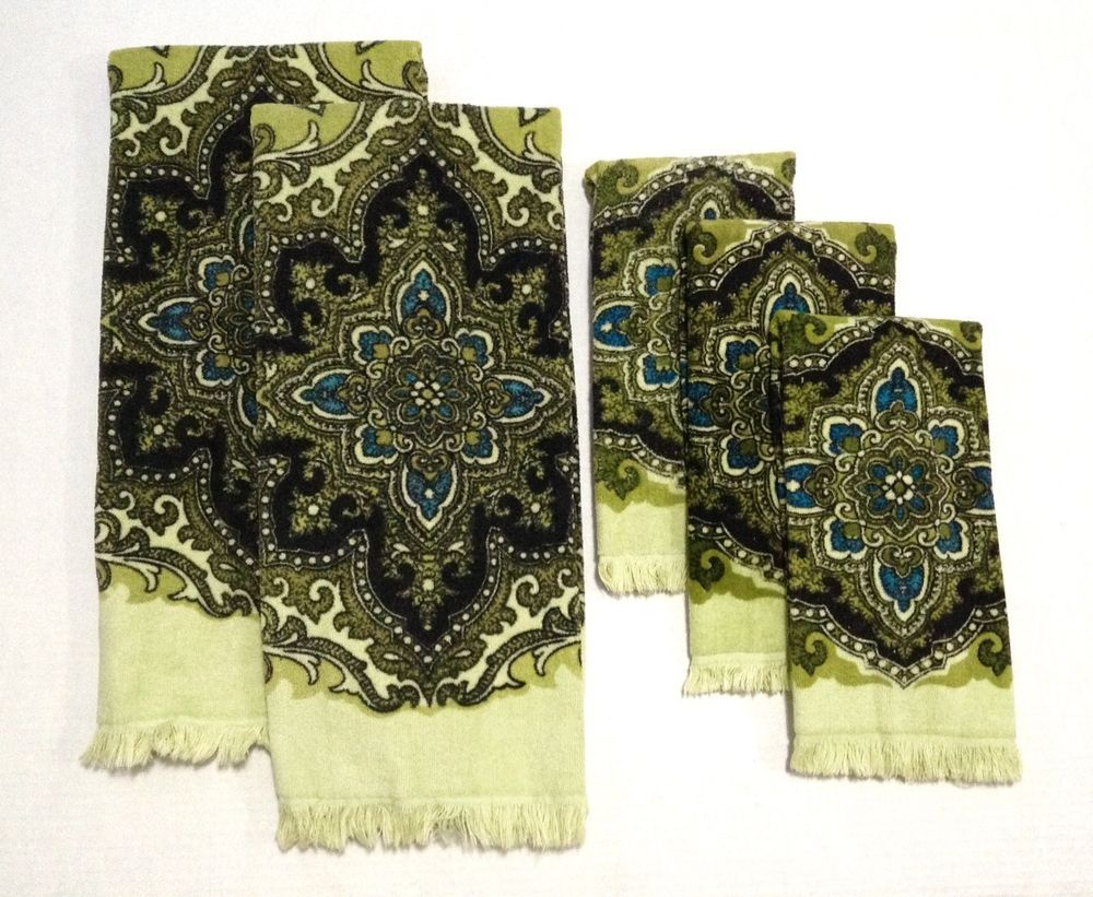 Vtg sears bath hand towels lime green paisley pc set mid century