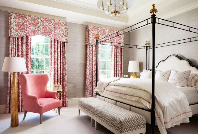 Contemporary princess bedroom. Traditional pink fabric over modern gray wallpaper.