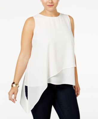 Monteau Trendy Plus Size Asymmetrical Layered Top  $29.99 Monteau's plus size top gets your breezy style on point with lan asymmetrical cut fashioned from layers of chiffon.