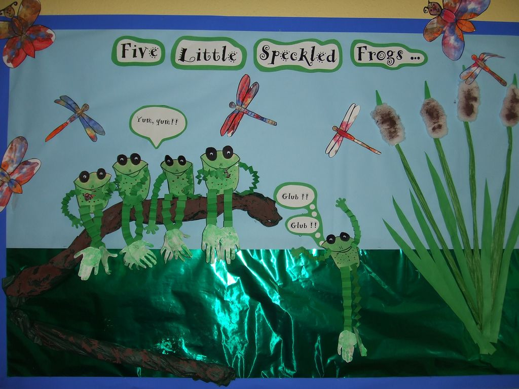 5 Green Speckled Frogs Display