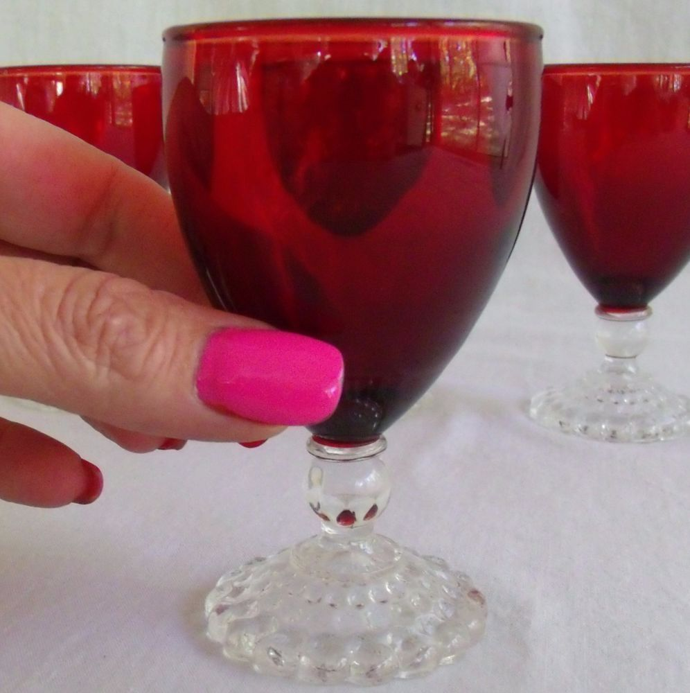 Antique Ruby Red Clear Ball Stemmed Bubble Base Glasses Set Of 4 Mint Condition Hem Inredning