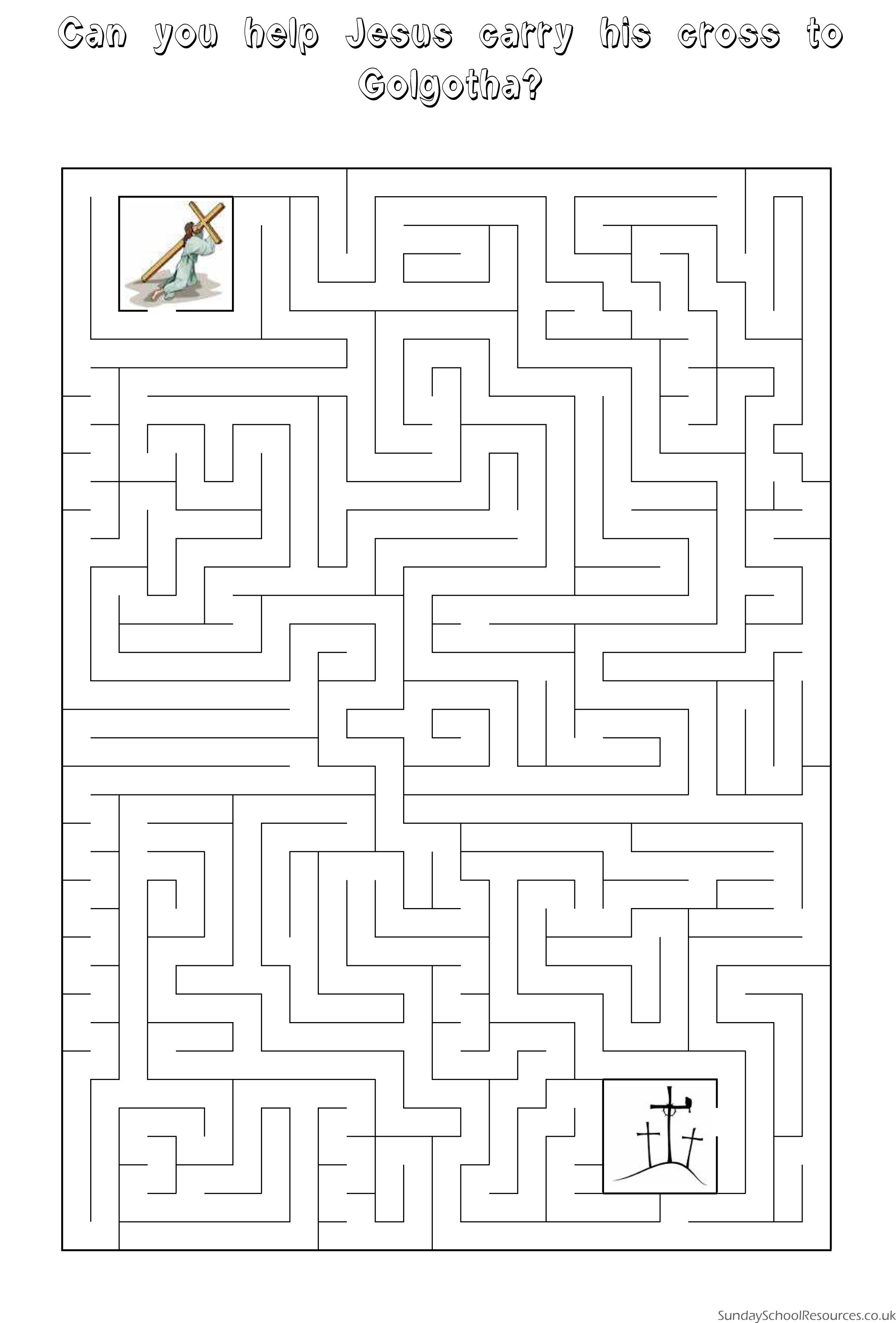 Easter Maze - Sunday School Activity Worksheet | Easter | Pinterest ...
