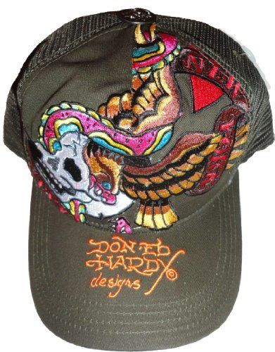 bffe0d59 Men's Ed Hardy Hat Cap Skull and Eagle New York Dark Green Ed Hardy,http