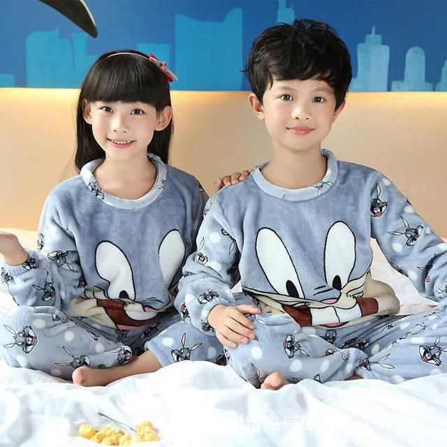 846cc0a39 Girls   Boys Autumn Winter Clothes Flannel Pyjamas Girls Pijamas ...