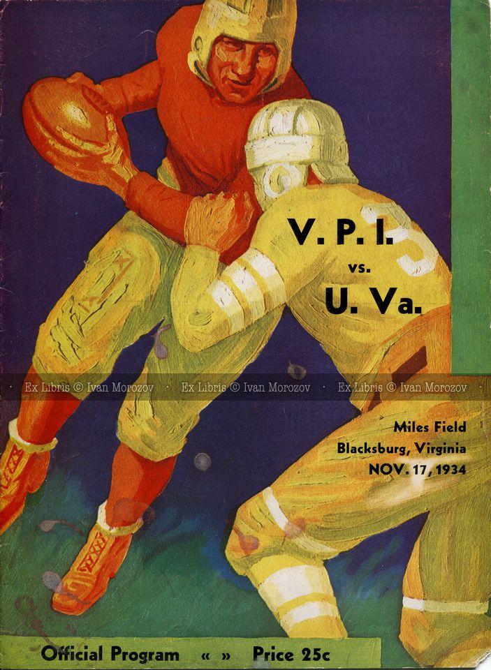 1934.11.17. Virginia at Virginia Tech. Vintage football program ...