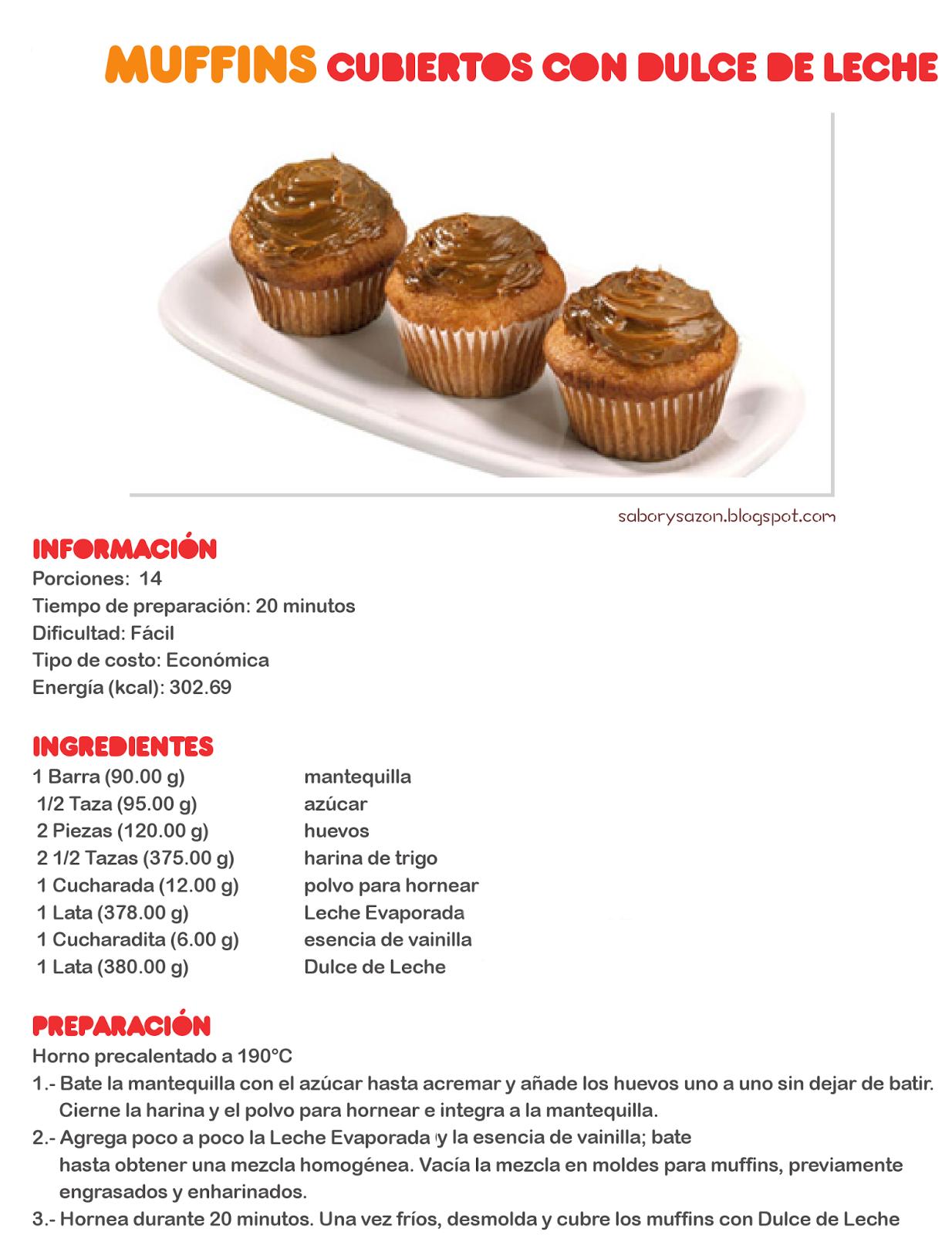 Como preparar muffins cubiertos con dulce de leche for Recetas de postres faciles