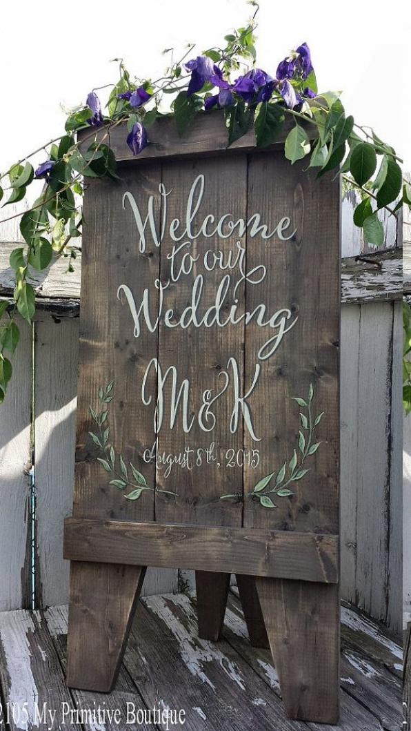 Custom Wedding Sign A Frame Sign Aged Wood by ...