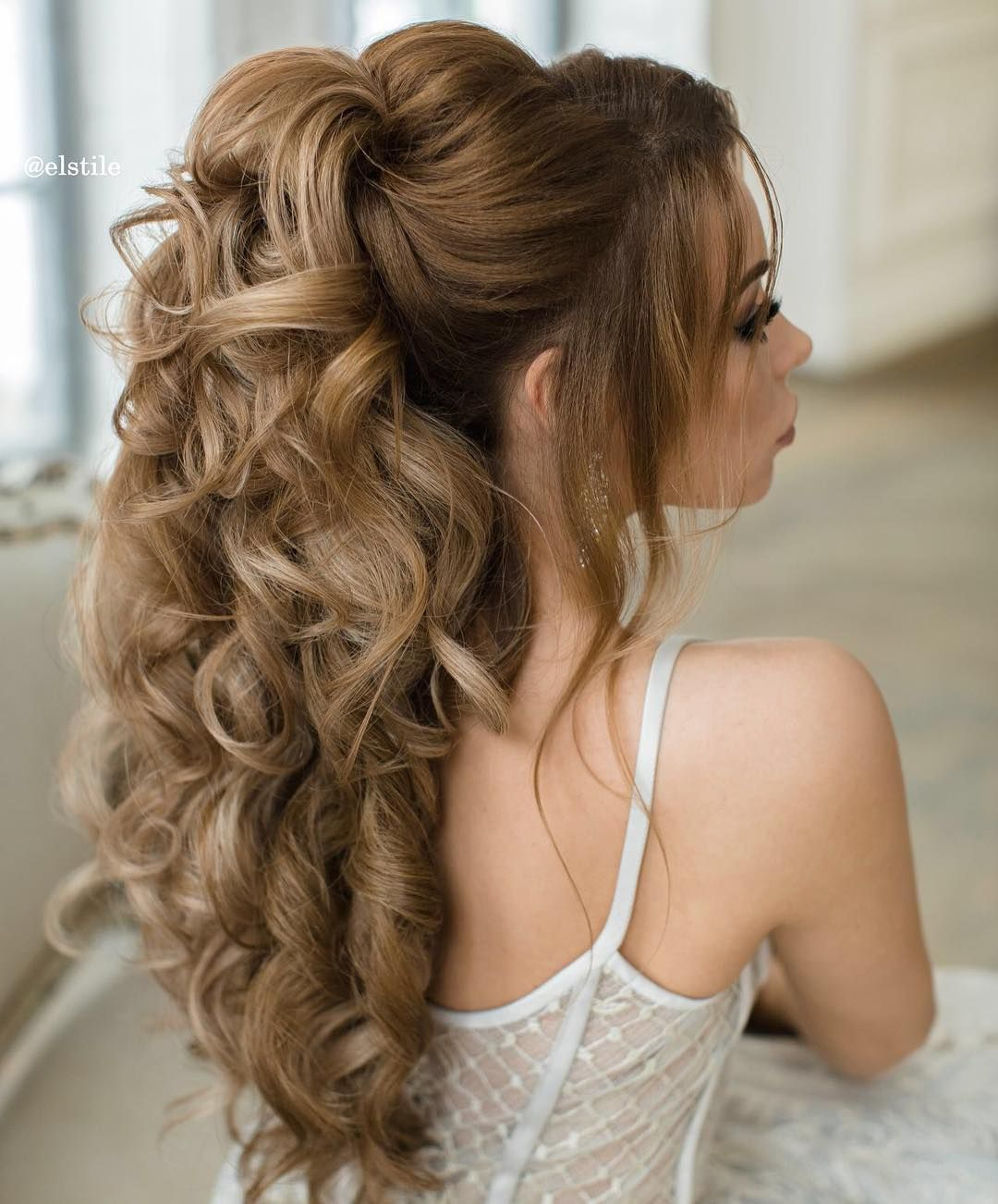 bridal hair half up inspiration | romantic | curly waves elegant