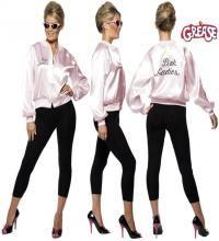 veste pink ladies de grease avec l 39 inscription pour femme plusieurs tailles ce d guisement. Black Bedroom Furniture Sets. Home Design Ideas