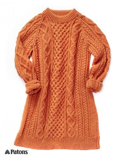 Honeycomb Aran Dress Patterns Yarnspirations Knitted Sweaters