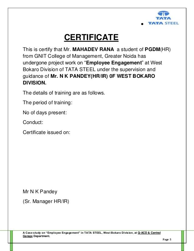 Project Report Employee Engagement Mahadev Rana Letter Sample