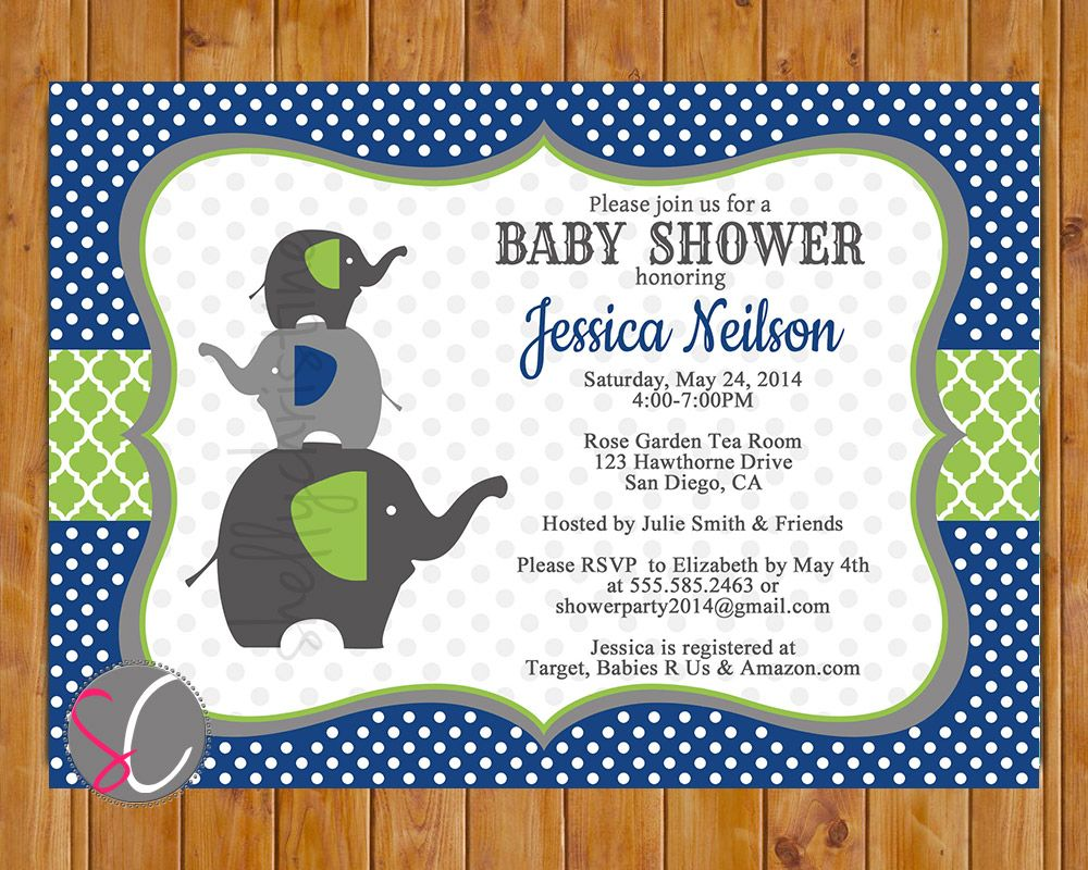 Stacked Elephants Lime Green Navy Blue Polka Dots Baby Boy Shower ...