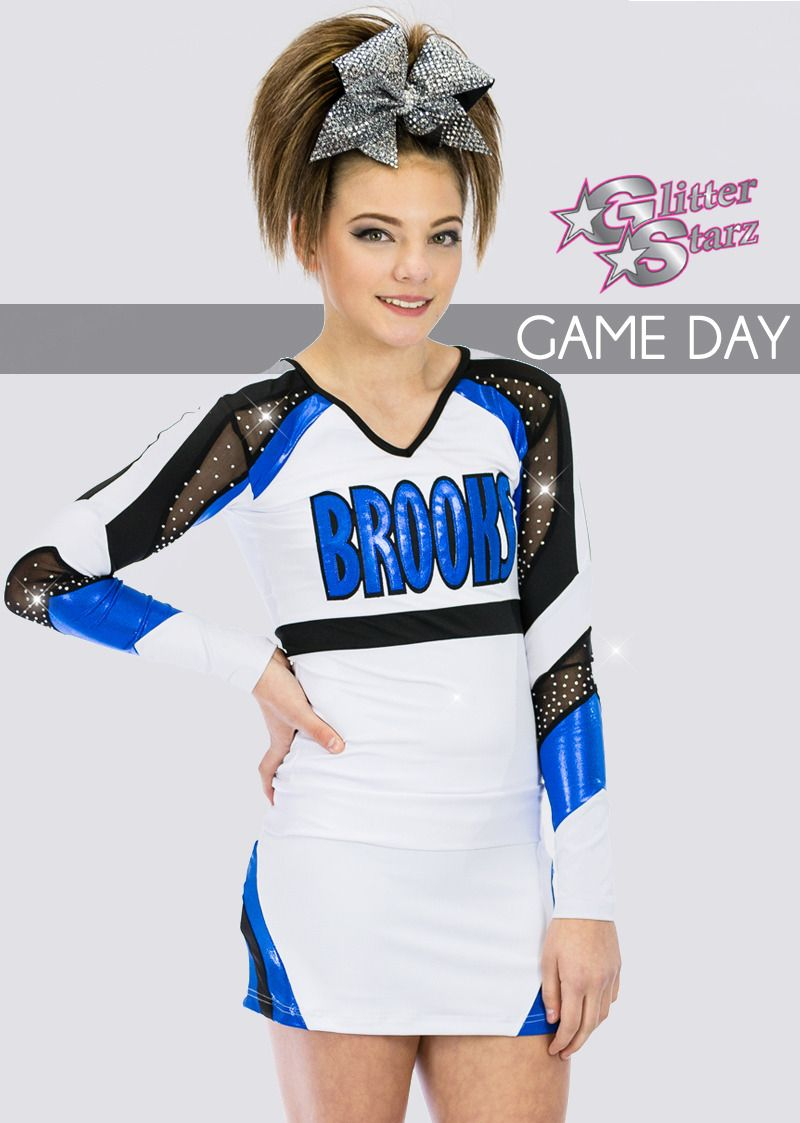 847985a2c6cf8 game day front-GlitterStarz-Custom-uniforms-With-Bling-Rhinestone-Logo-for  cheerleading-cheer