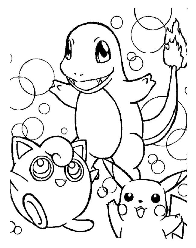 wigglytuff charmander and pikachu legendary pokemon coloring page