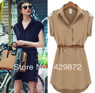2013 Summer Womens Fashion Loose Short-sleeve Shirt Dress Plus Size Chiffon One Piece Dress belt free Vestidos Faldas Two Colos $18.98