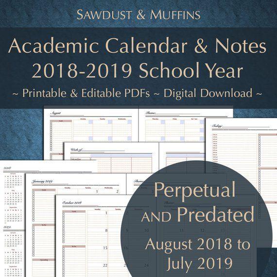 Printable Editable Academic Calendar/ Teacher Planner/ Daily Weekly