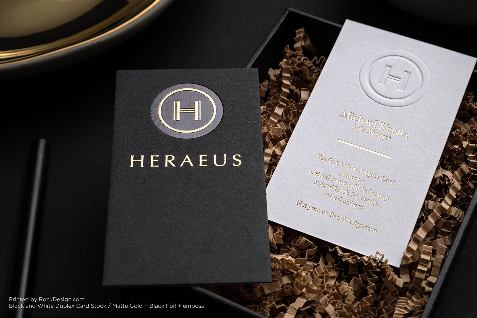 Black business card matte gold stamping elegant classy template ...