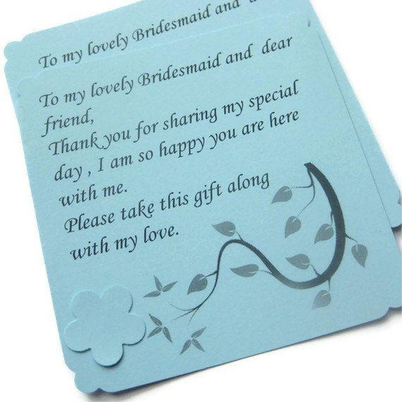 Weddings Bridesmaid Card Thank You Gift Card Personal