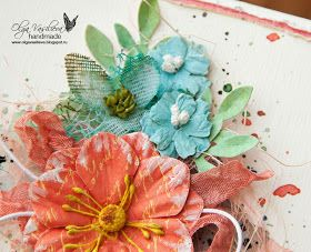 Scrap story ...: New card for Sizzix with handmade flowers.