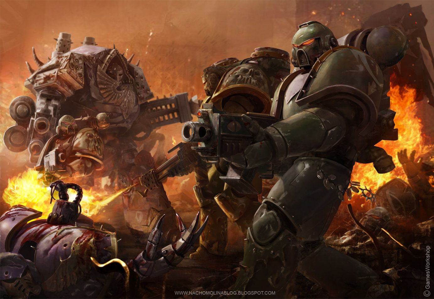 Warhammer 40k death company wallpaper - Black Legion By Nachomolina Artist S Comment I M So Happy To Show My First Illustration For Games Workshop For A Warhammer Codex Supplement Under Art