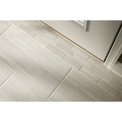 Style Selections 12 X 24 Leonia Silver Glazed Porcelain Floor Tile Porcelain Flooring Tile Floor Tile Bathroom