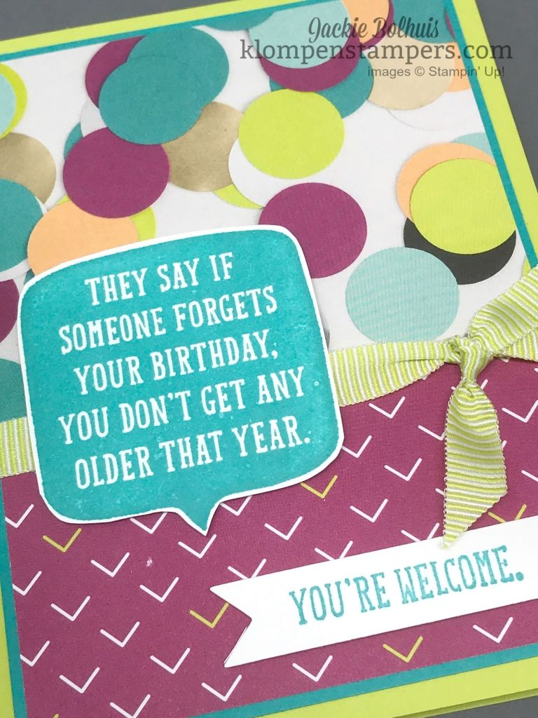 easy birthday card  klompen stampers  belated birthday