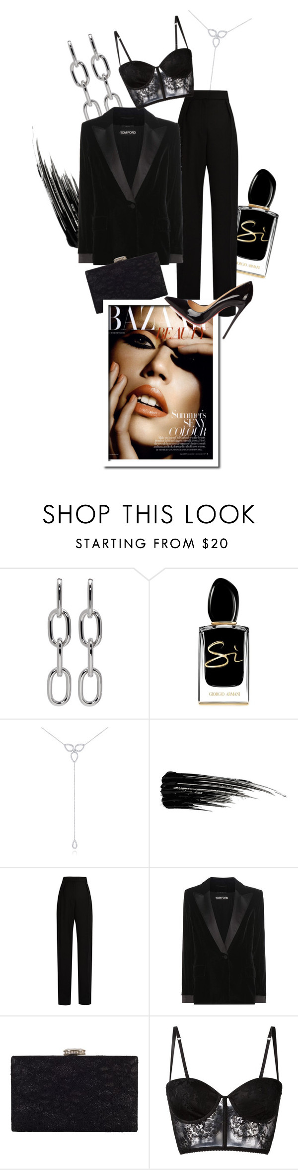 """""""Seductive Darkness"""" by dark-opulence ❤ liked on Polyvore featuring Alexander Wang, Giorgio Armani, KC Designs, Urban Decay, Lanvin, Tom Ford, Chesca, I.D. SARRIERI and Christian Louboutin"""