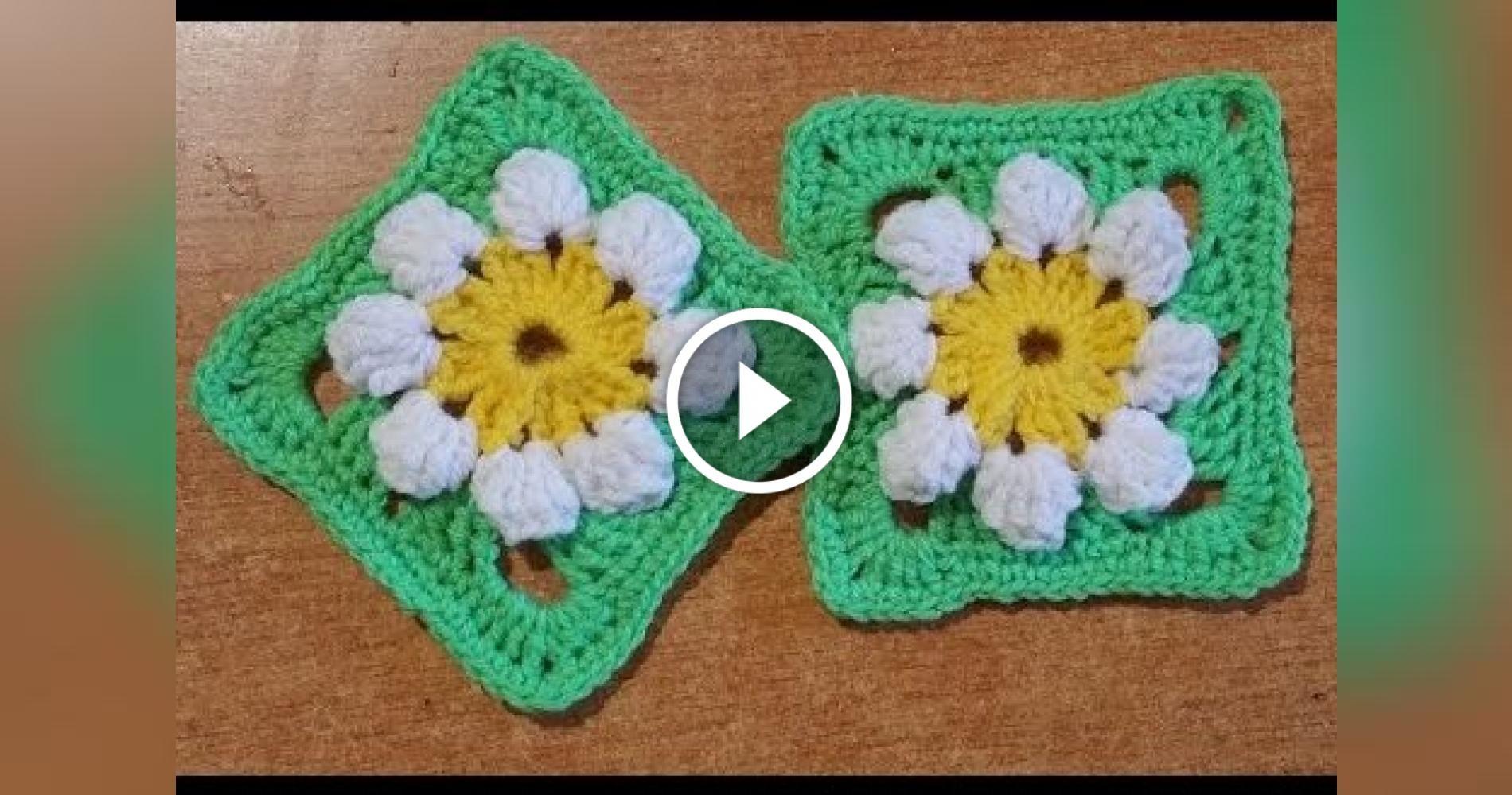 Crochet uncinetto mattonella con margherita x copertine