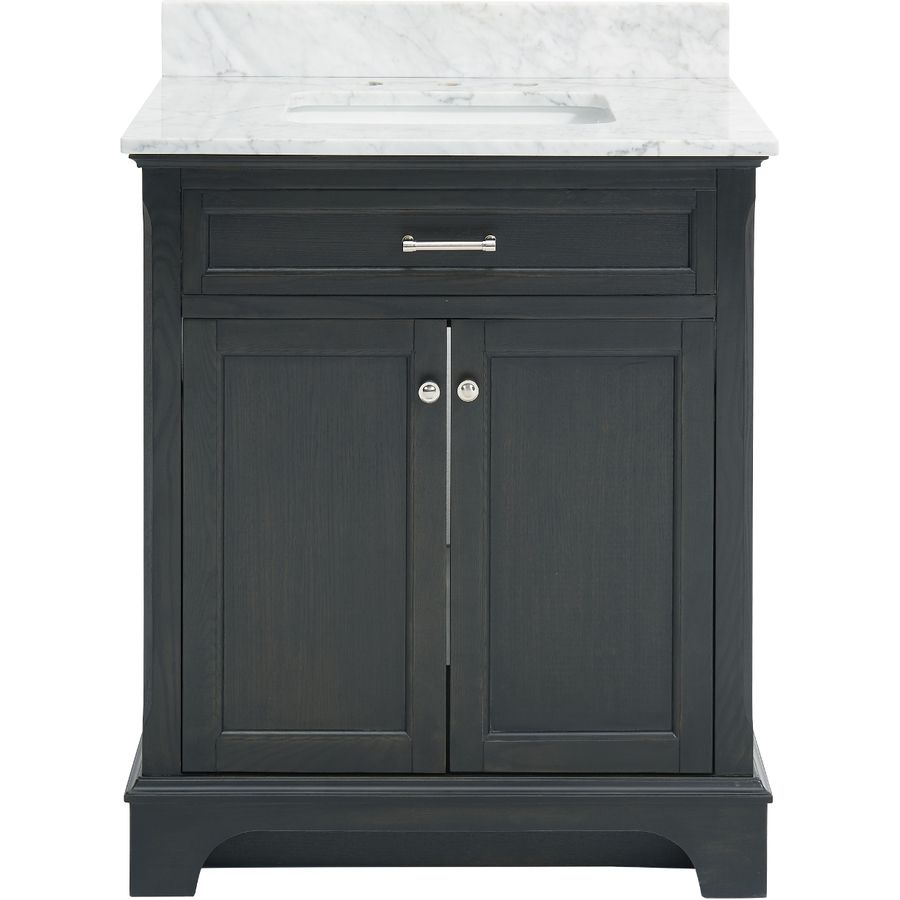 Gallery For Photographers allen roth Roveland Gray Undermount Single Sink Birch Bathroom Vanity with Natural Marble Top