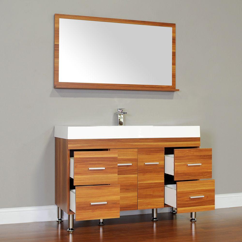 Alya Bath ATC Single Modern Bathroom Vanity Cherry - 47 bathroom vanity sink cabinet