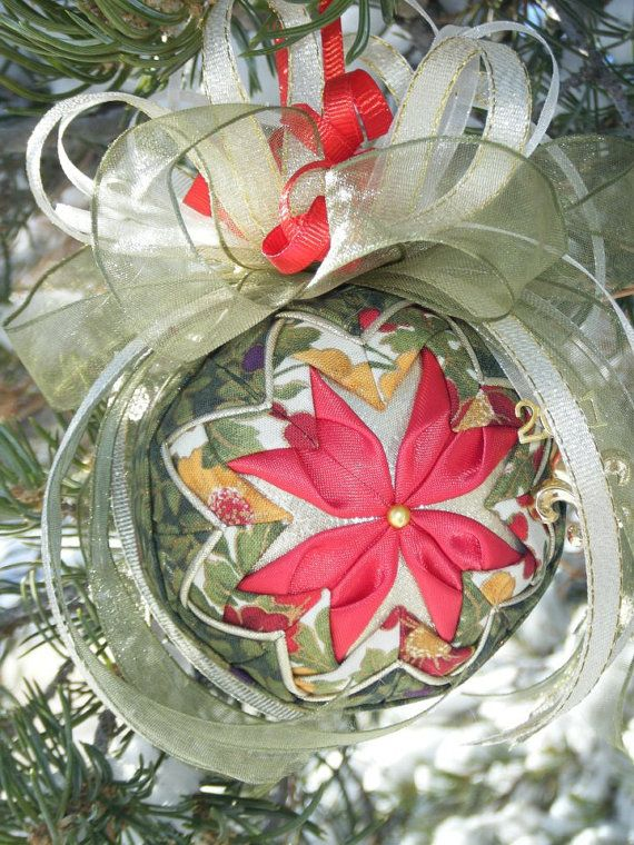 NoSew Folded Quilted Flower Christmas Ornament PDF Pattern with