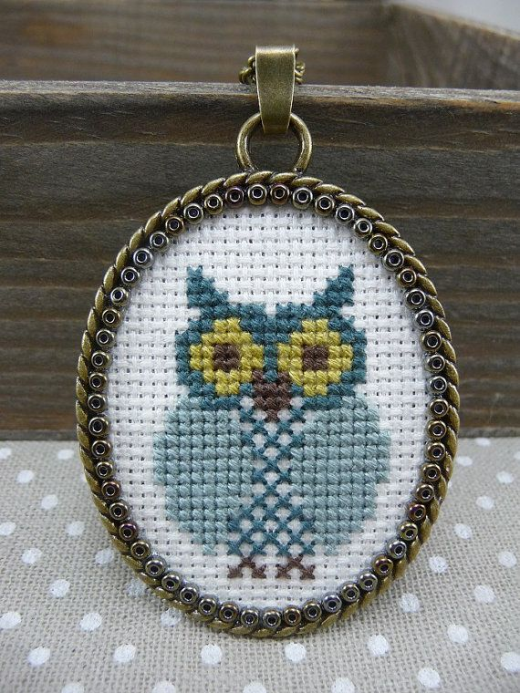Blue Owl Cross Stitch Pendant Necklace Cross by TriccotraShop