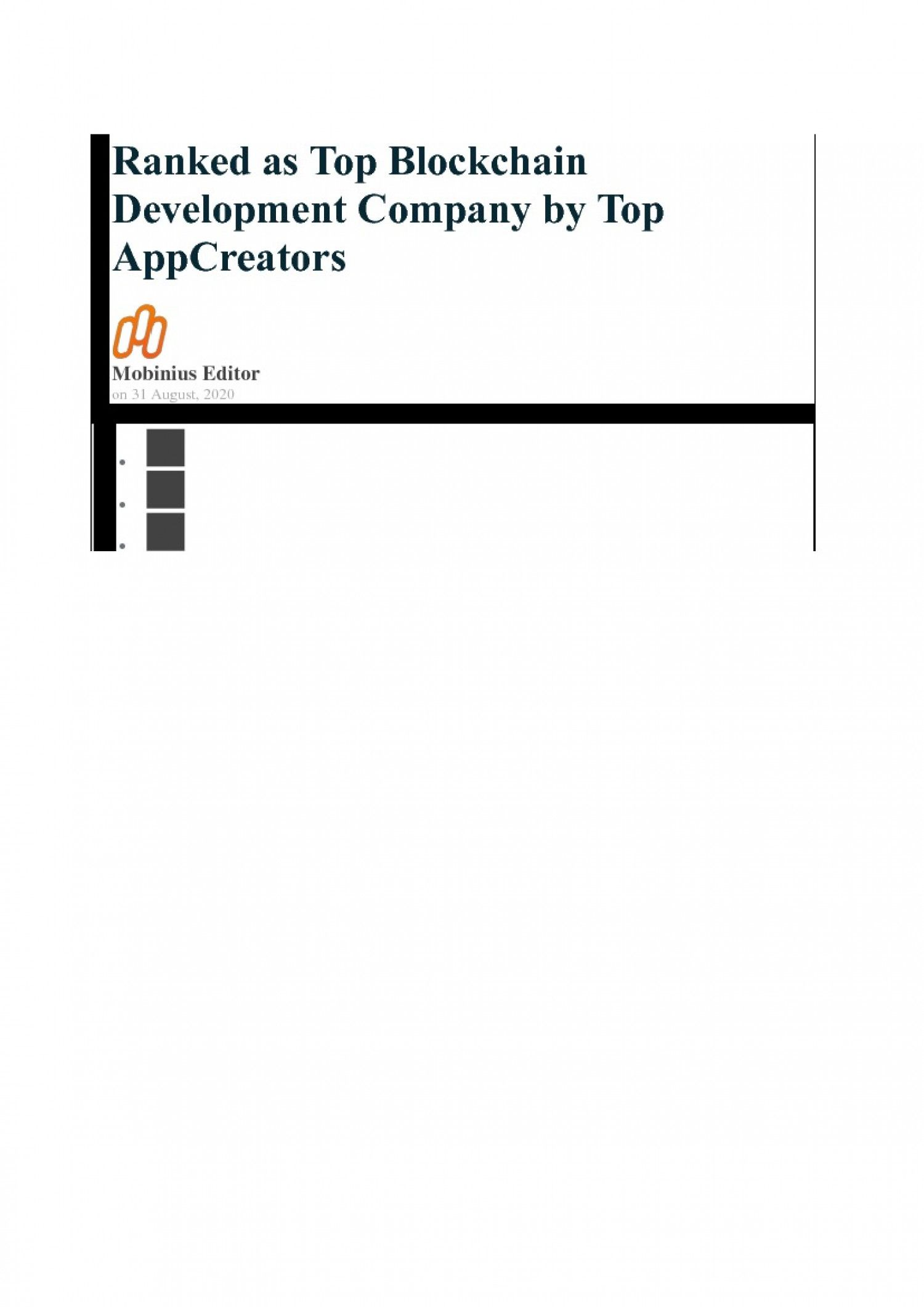 Ranked as Top Blockchain Development Company by Top AppCreators   Visual.ly