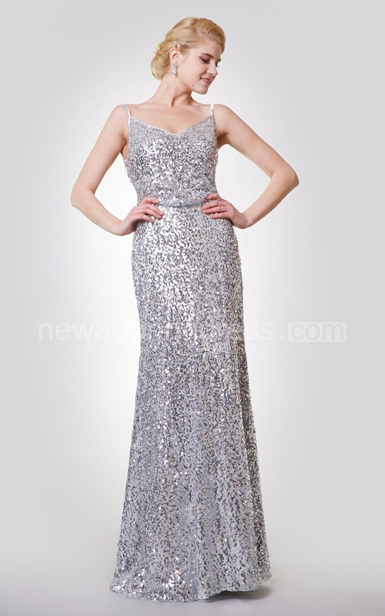 Sexy spaghetti straps aline sequined gown with draped back