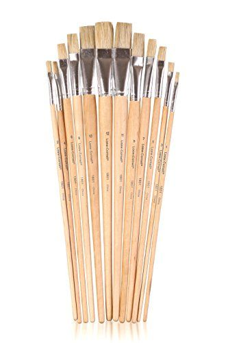 Supply Guru Flat Bristle Brush Set Long Wood Handled Brushes Ideal For Beginning Intermediate And Fine Artists 12 Ct Sizes 11 Brush Set Diy Coupons Wood Handle