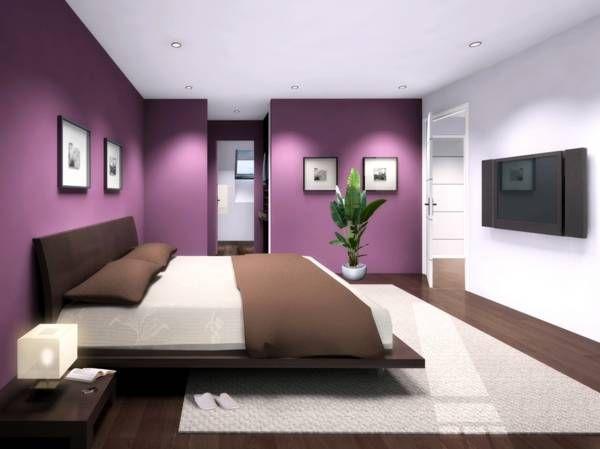 sol marron murs violets, un pan blanc | Chambre | Pinterest ...