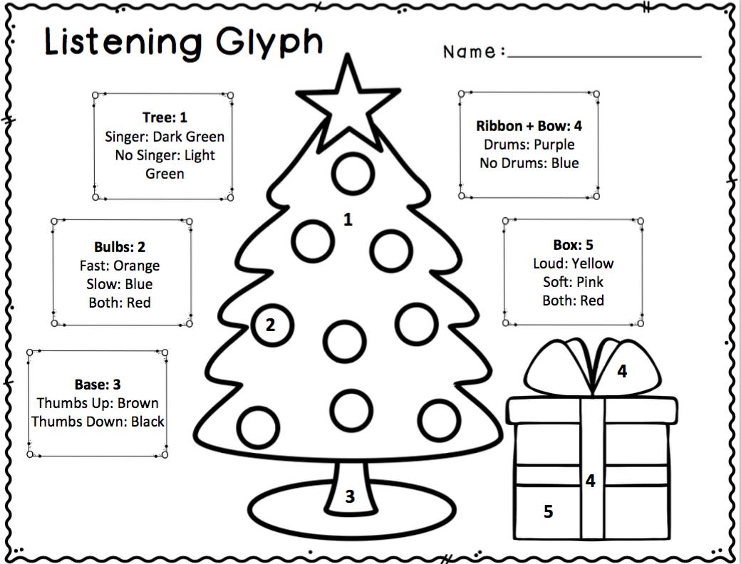 worksheet Hanukkah Worksheets christmas and chanukah listening glyphs for elementary music classroom
