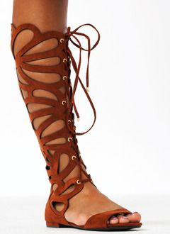 Teardrop Faux Suede Sandals. Love the gladiator sandal look.
