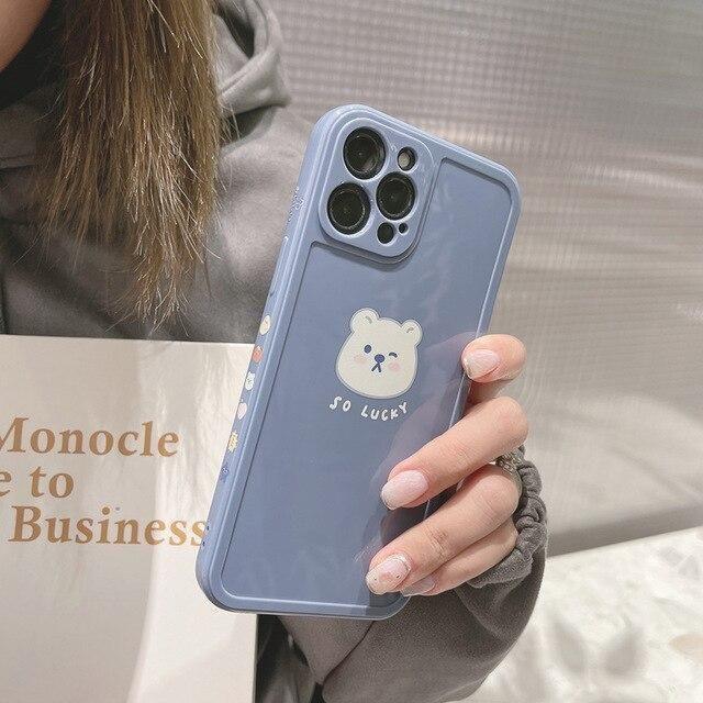 KAWAII LUCKY BEAR PHONE CASE - Blue / for iPhone 12