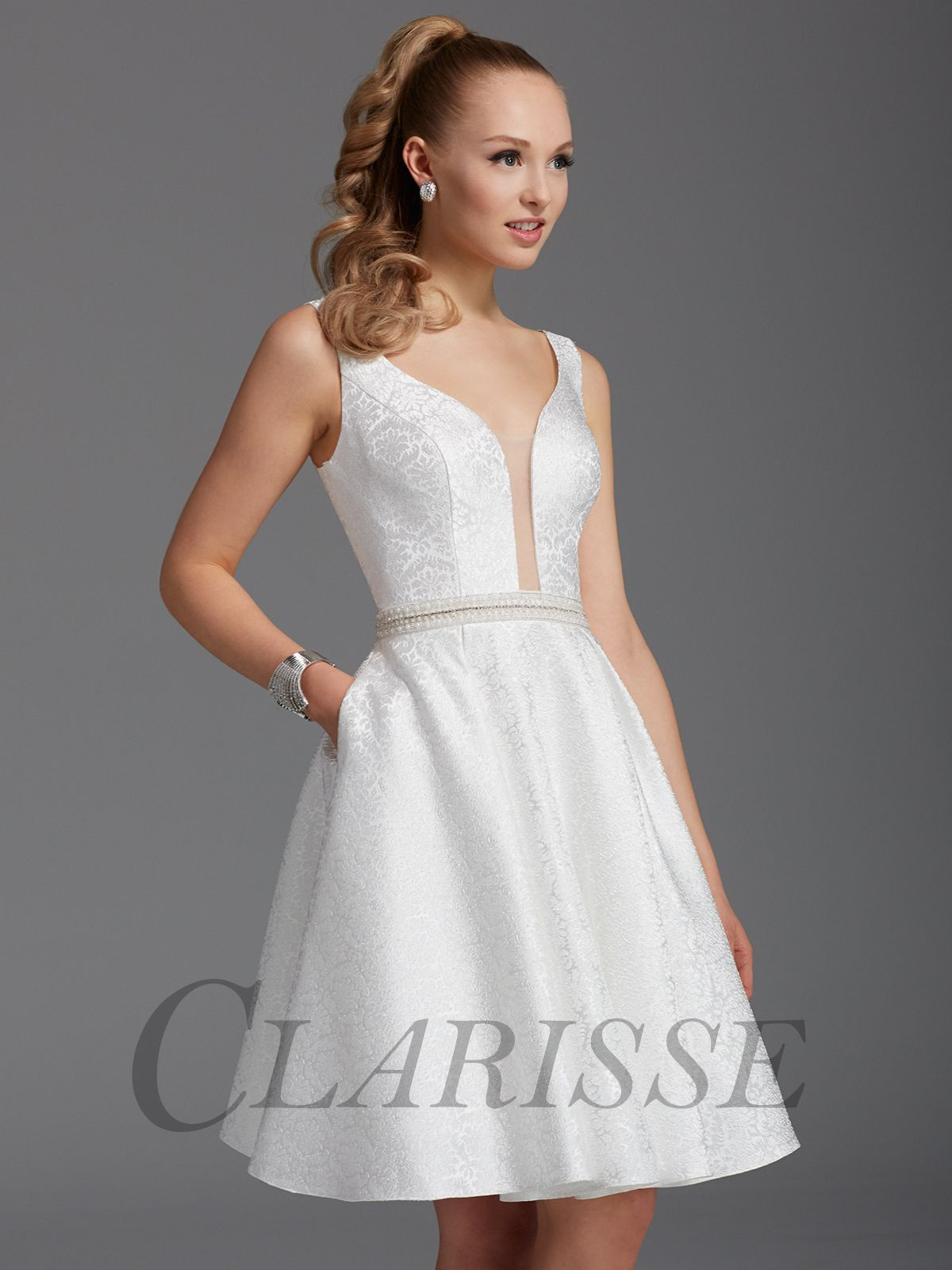 71b991bd39a Clarisse White Damask Homecoming Dress 2910 in 2019