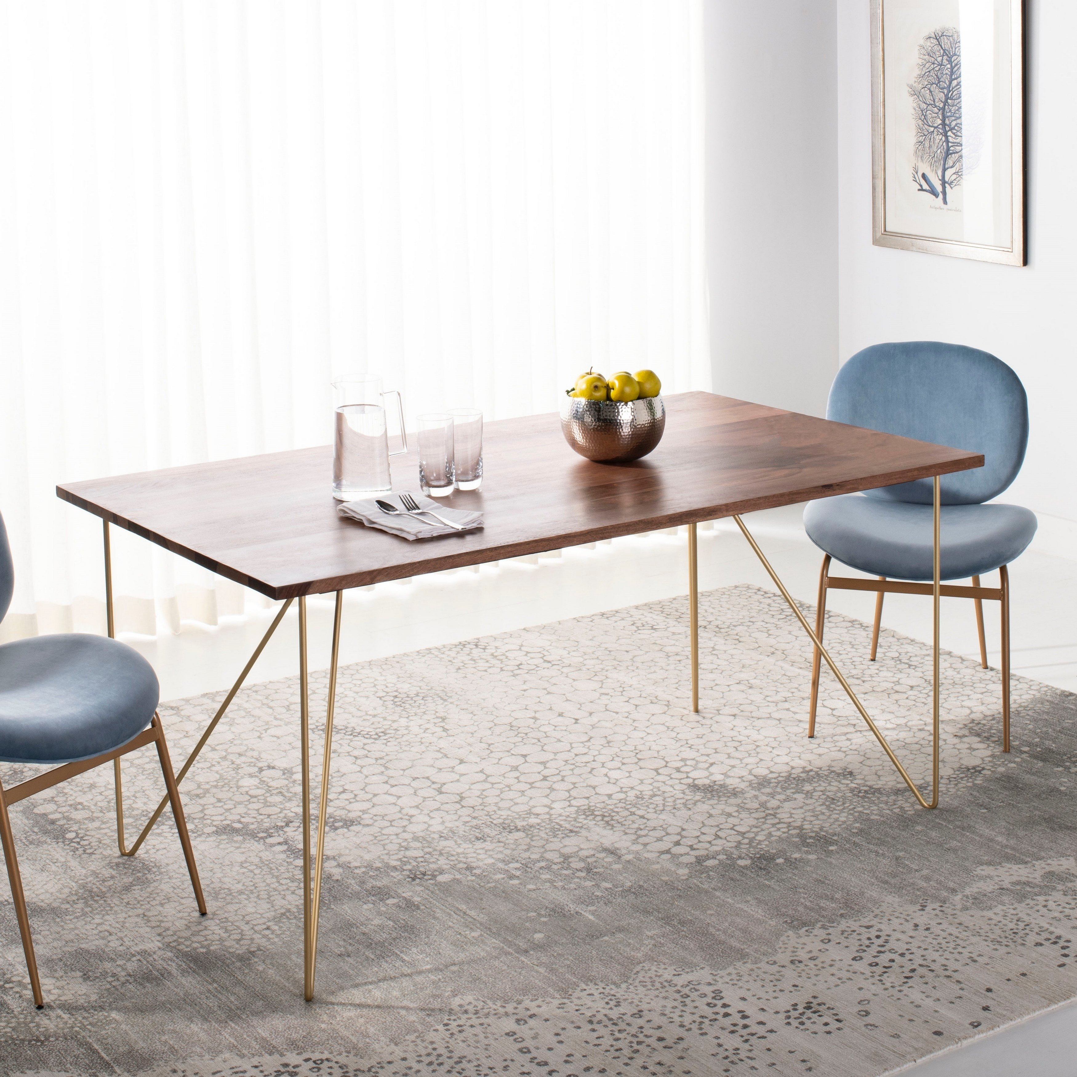 Safavieh Couture Captain Wood Dining Table Walnut Brass 62 9