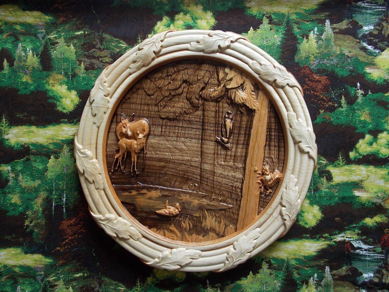 Woodland wreath wood carving wall art wood wall art wood wall art