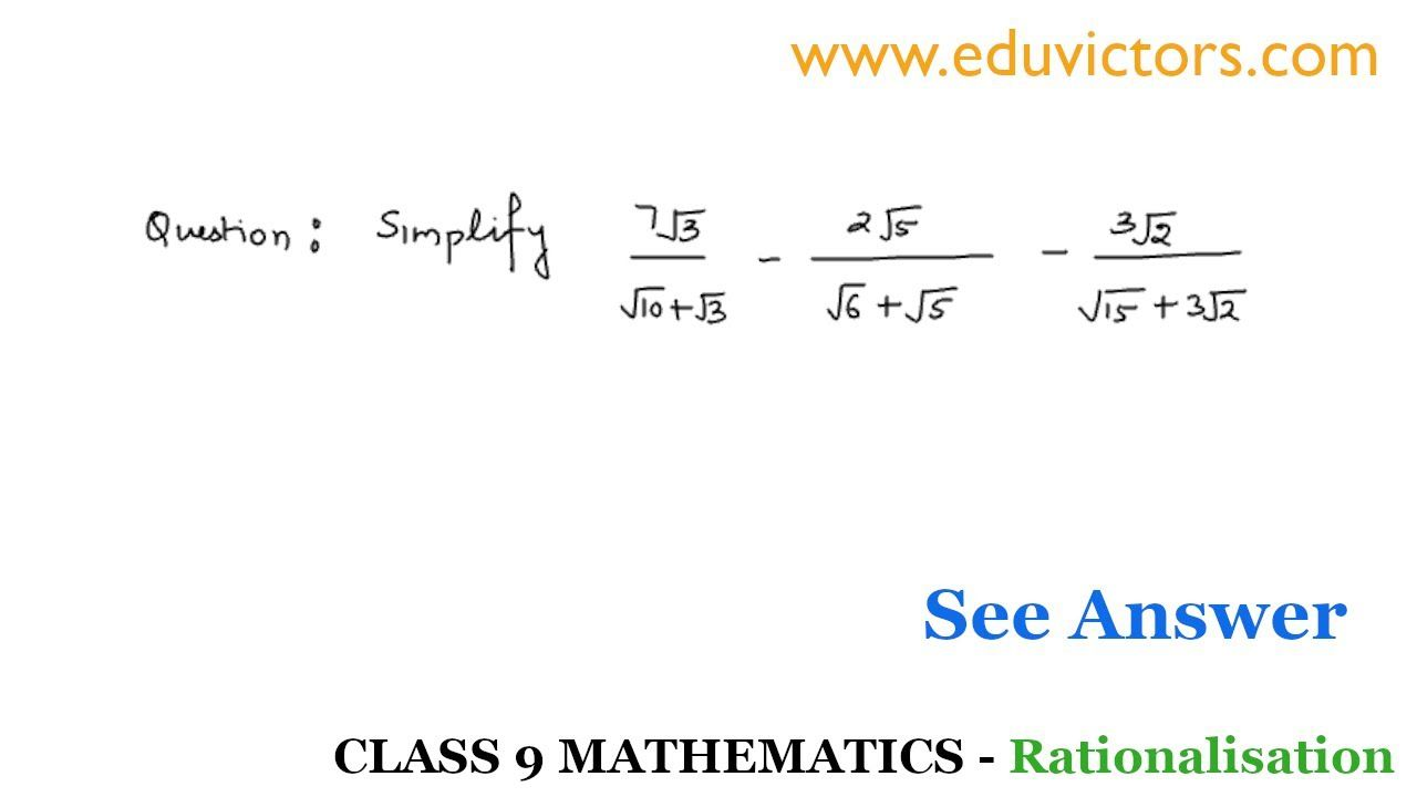 Cbse Class 9 Maths Real Numbers Problems On Rationalisation Part 5 Real Numbers Math Study Notes [ 720 x 1280 Pixel ]