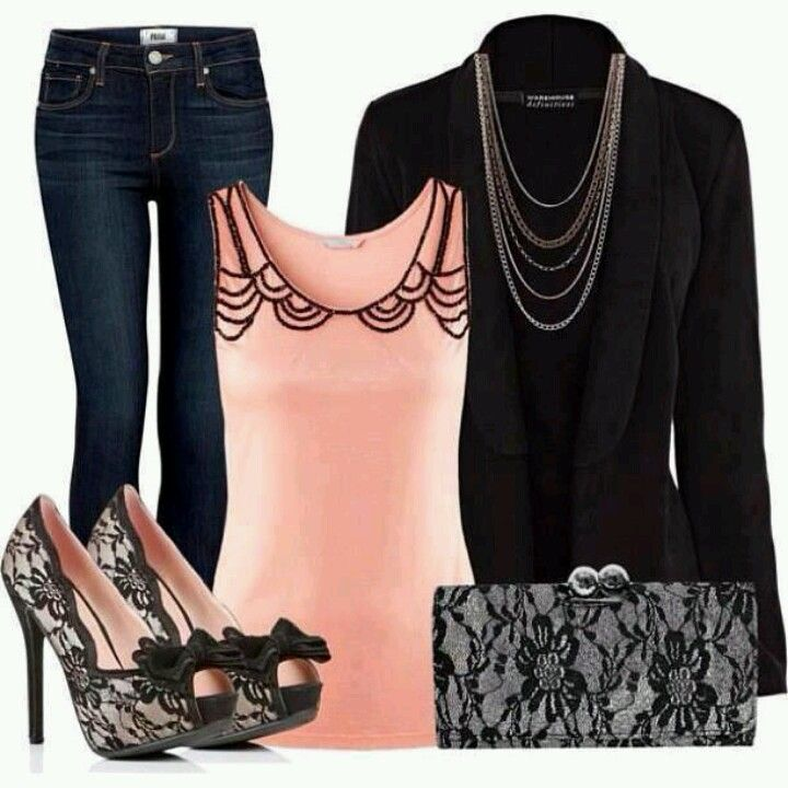 Cute outfit...LOVE the pink & black lace together!!!! <3