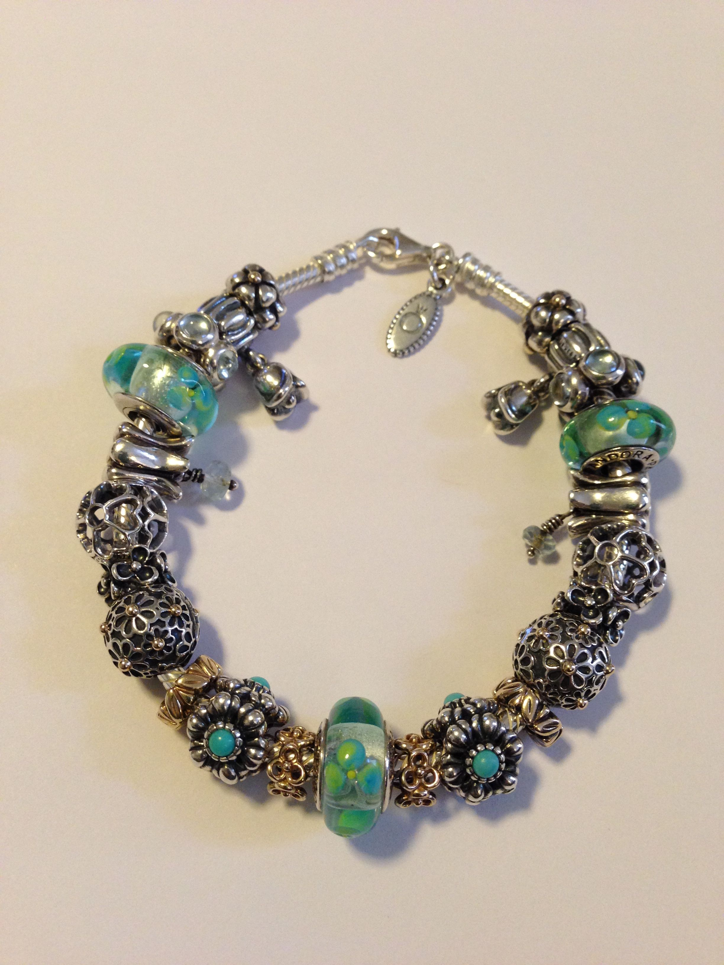 My Clear Teal Flowers Murano Glass Charms And Flower Pandora Bracelet By  Nicole