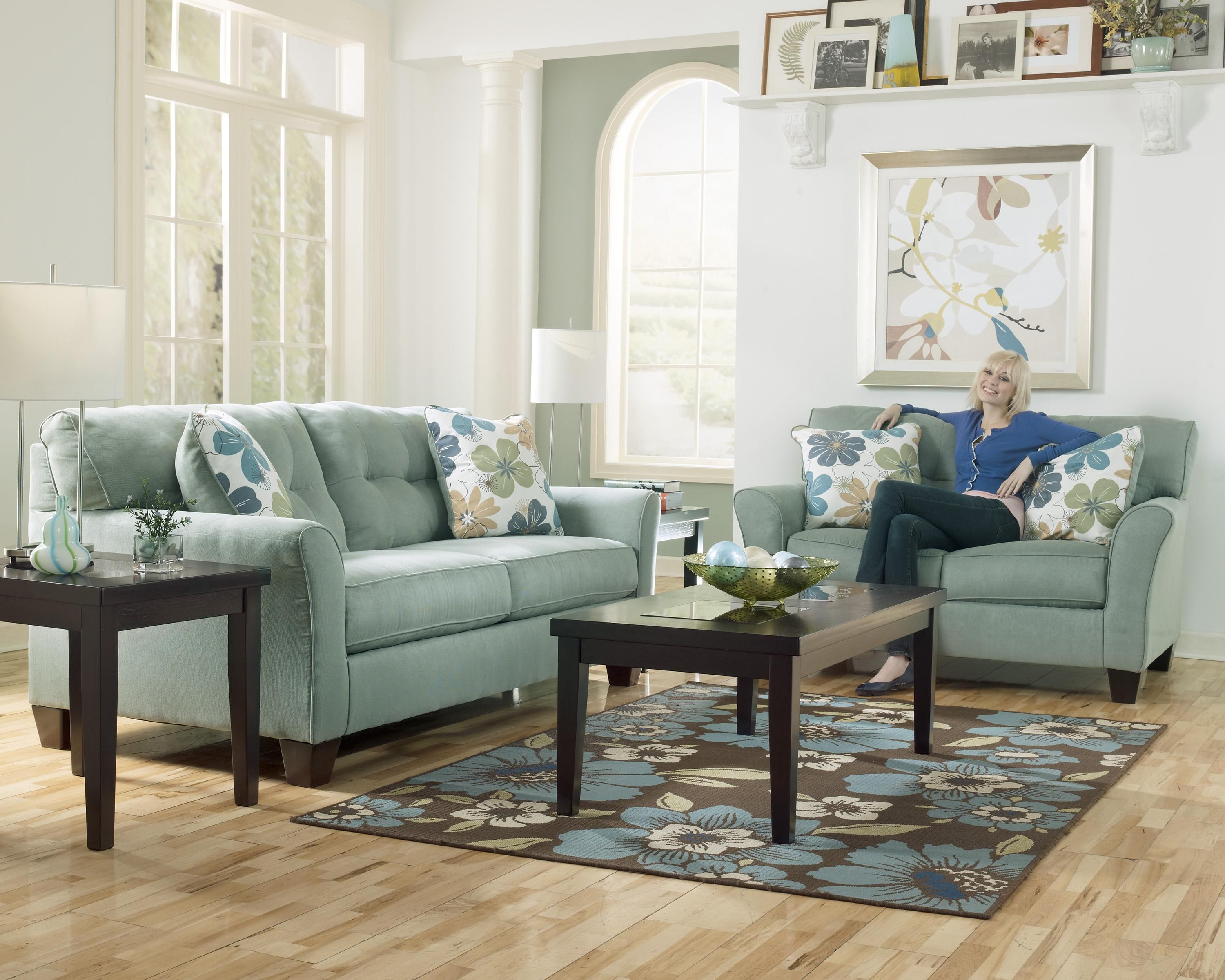 Kylee By Signature Design By Ashley Furniture Aqua Teal Couch I Just Bought This Sofa And The Chaise Living Room Sets Furniture Grand Furniture