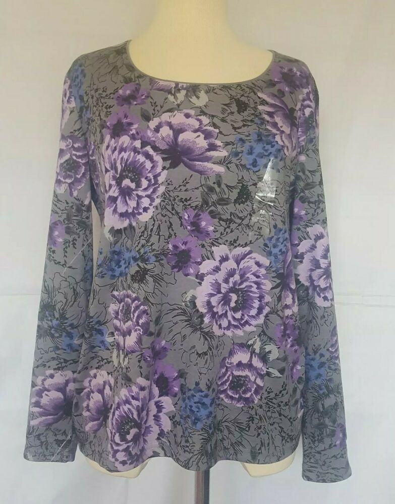 877e553bf7f Karen Scott Women's Floral Multicolor Charcoal Purple Top Size ...